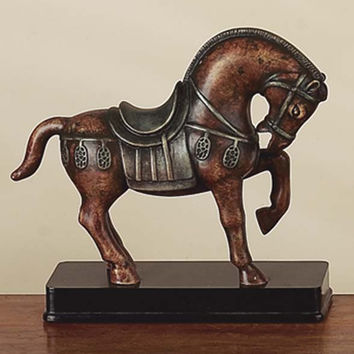 """Benzara 10"""" Polyresin Hand Carved Tang Horse Statue in Brown Finish"""