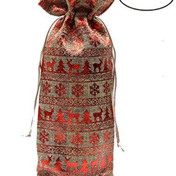 TBUY 3 Pack Yellow Star Burlap Gift Bags Linen Wine Bags With Drawstrings Wine Bottle Protector Party Wedding Favor 3 Pack Red