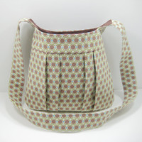 Brown Pleated Tote, Cross Body Bag, Tote Bag, Messenger Bag, Retro Dot Print in Brown, Olive, and Aqua