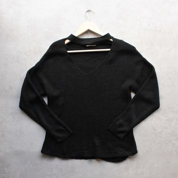 knit sweater with choker detail - black