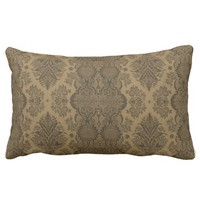 Lacy Vintage Floral in Brown Lumbar Pillow