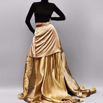 High End Long Gold Satin Skirts For Women Zipper Custom Made A-Line Skirts To Party Ruffles Saias