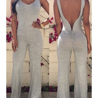 Sexy Scoop Neck Solid Color Backless Sleeveless Jumpsuits For Women