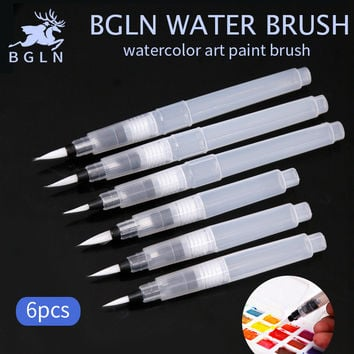 Bgln 6Pcs set Large Capacity Water Brush Watercolor Art Paint Brush Nylon Hair Painting Brush For Calligraphy Pen