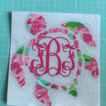 Lilly Pulitzer inspired sea turtle monogram Decal or car, laptop, cup, cell phone, Yeti, iphone, notebook, tumbler, boots, rambler, cooler