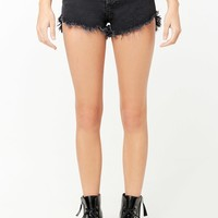Frayed Step-Hem Denim Shorts