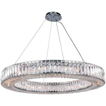 Cuvette 24-Light Chandelier, Chrome Finish, Clear Crystal, Royal Cut
