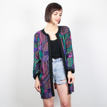 Vintage 1980s Jacket Teal Blue Black Pink Gold Paisley Print 80s Blazer Jacket Draped Kimono Jacket Boho Oversized Blazer L Extra Large XL