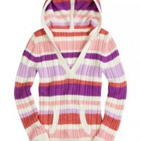 Girls Clothing | Sweaters | Mixed Stripe Sweater With Hood | ShopJustice.com