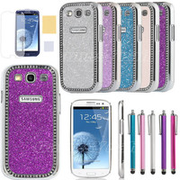 For Samsung Galaxy III S3 i9300 Case Sparkle Bling Chrome Cover Protector Stylus