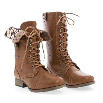 Jetta25AD Mid Calf Foldable Shaft Lace Up Combat Military Boots