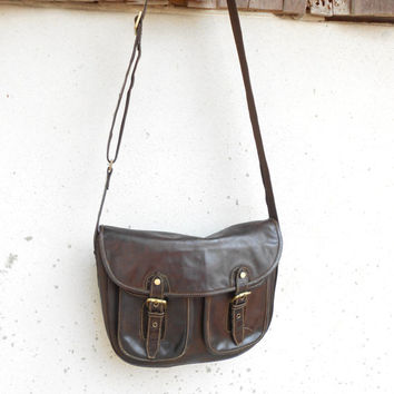 Vintage Chocolate Brown Messenger Bag VISCONTI LONDON , Crossbody Bag , Ipad Bag , London Bag / Medium - Large
