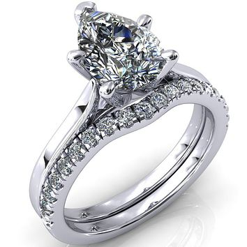Darci Pear Moissanite 5 Prong Cathedral Solitaire Engagement Ring