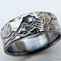 rustic mountain range ring, engraved landscape ring for him and her, outdoor wedding ring silver, man wedding band, customized mountain ring