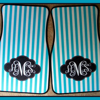 Car Mats Personalized Car Mats Monogrammed Car Mats Aqua Stripes Custom Car Mats Personalized Car Accessory Monogrammed Car Accessory