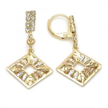 Gold Layered 5.077.011 Dangle Earring, Filigree Design, Diamond Cutting Finish, Tri Tone