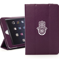For Apple iPad 2 3 4 Mini Air Leather Magnetic Folding Smart Case Stand Cover Black Blue Green Pink Purple White Hamsa Hand