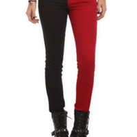 Blood Red And Black Split Leg Skinny Jeans