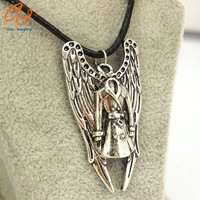 Supernatural necklace pentagram Pentacle Castiel angel wings vintage antique silver pendant jewelry