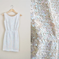 The Icicle - Vintage 60s Sequin Iridescent Fitted Wool Knit Dress NYE Party