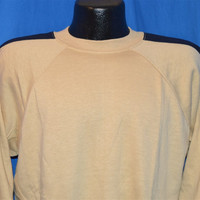 80s Tan Blue Striped Raglan Sleeve Sweatshirt Large