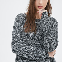 FOREVER 21 Marled Boucle Sweater Black/Grey