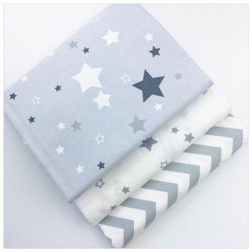 Gray Stars Wave Printed Cotton Fabric for Decoration Diy Sewing Patchwork Cushions Bedding Textile And Quilting Crafts Tissue