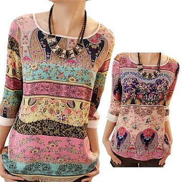 Women Chiffon Blouse 2017 Summer Style Lace Floral Printed Three Quarter Puff Sleeves Lady Casual Shirt Tops Plus Size XXL Blusa