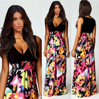 Print Deep V Fashion V-neck Stylish New Arrival One Piece Dress = 5826282049