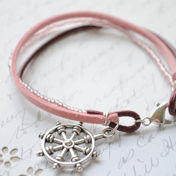Summer Bracelet No23 Wheel anchor bracelet  by littlejarofhearts