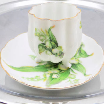 White Snowdrops Teacup and Saucer, Teacup Without Handle, Tulip Shape Cup, Made in Japan