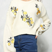 Batwing Sleeve Embroidery Sweater