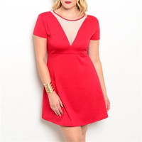 Wine Color A-Line Plus Size Dress