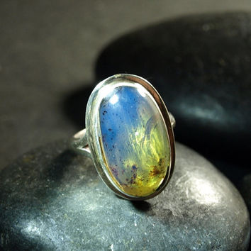 Dominican Blue n Green Clear Amber Large Oval Ring Sterling Silver 925 authentic boho purple Caribbean fossilized  5.5g 27.5ct Size 6.75