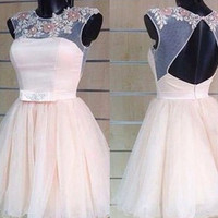 A-line Tulle Beaded Short Homecoming Dress