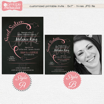 Sweet 16 invitation, Chalkboard pink sweet sixteen party invites, Printable teen birthday invitation card with photo