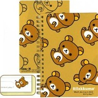 San-X Rilakkuma Everyday B6 Hard Cover Spiral Notebook: Relax Bear