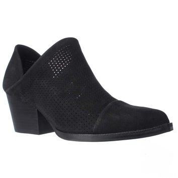 STEVEN Steve Madden Skelos Perforated Ankle Booties, Black, 8.5 US