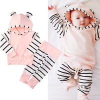 Hooded Top Long Pants Cotton Outfits Girl 2PCS Clothing Set Striped Toddler Newborn Baby Girl Clothes Set