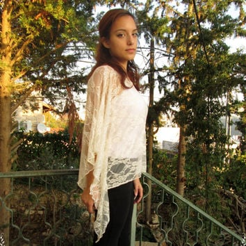 Cream lace fantasy style elven shirt Soft Airy lace Long sleeves top shirt Flower Transparent shirt tunic chic fairy clothing yoga wear elf