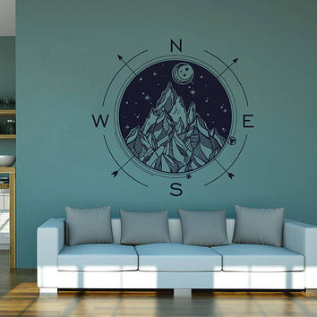kik2980 Wall Decal Sticker compass living room bedroom
