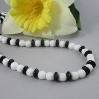 Black And Opaque White Beaded Choker Short Necklace Includes Earrings
