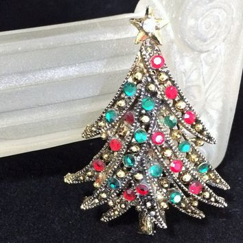 fa2295e0f Hollycraft Rhinestone Christmas Tree Brooch, Red and Green Glass.  TheJewelSeeker Vintage Jewelry