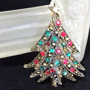 Hollycraft Rhinestone Christmas Tree Brooch, Red and Green Glass Stones, MId Century Holiday Pin, Antiqued Gold Tone 818m