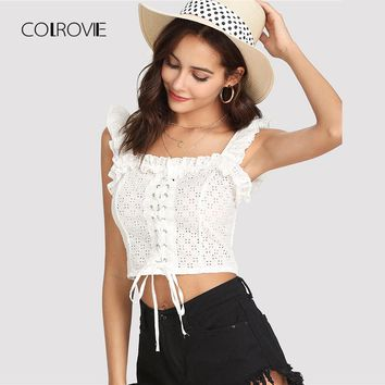 COLROVIE White Lace Up Front Ruffle Crop Top 2018 Summer Spaghetti Strap Ruffle Cut Out Tank Top Clothing Vacation Women Vest