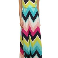 Multicolored Chevron Print Maxi Dress
