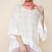 Umgee Pretty Day Ruffle Crochet Top - Natural