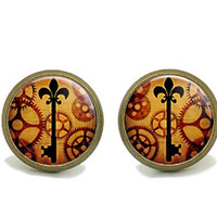 Steampunk Earring Studs, Gear and Key design, Christmas Jewelry