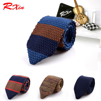 Male Brand Slim Designer Knitted Ties Neck Ties Cravate Narrow Skinny Neckties For Men Striped Ties