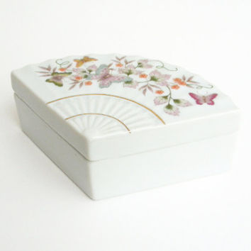 Avon butterfly fan porcelain trinket box - White ring dish jewelry box with butterflies - Mothers Day gift (Ready to ship)